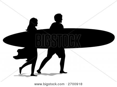 Surf Couple Silouette.Eps