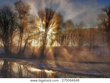 Winter Morning At Wupper River In Bergisches Land,solingen,north Rhine Westphalia,germany