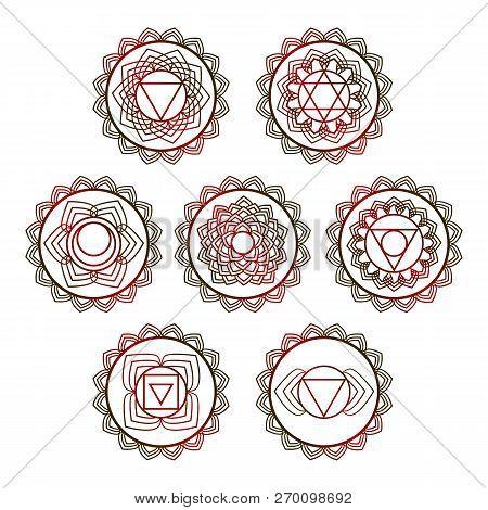 Yoga Vector Design. 7 Chakra Mandalas. Sahasrara, Anahata, Muladhara, Svadhisthana, Manipur, Vishudh