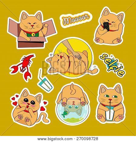 Fashion Patch Badges With Cat, Selfie, Heart, Milk, Cancer, Aquarium And Other. Very Large Set Of Gi