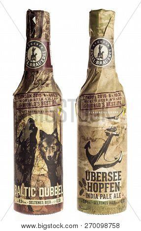 Groningen, Netherlands - November 17, 2018: Bottles Of German Rugener Ubersee Hopfen Ipa And Baltic