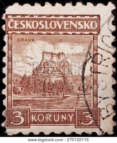 Luga, Russia - January 23, 2018: A Stamp Printed By Czechoslovakia Shows Beautiful View Of Orava Cas