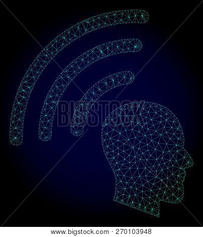 Mesh Telepathy Waves Polygonal Illustration. Abstract Mesh Lines, Triangles And Points On Dark Backg