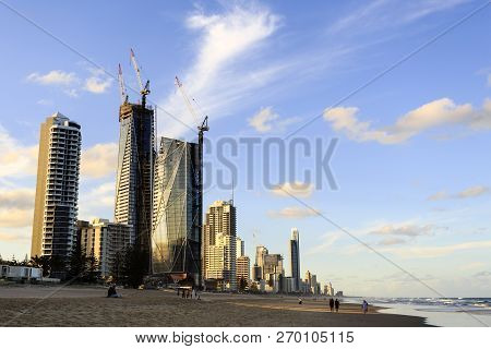 Gold Coast, Australia - November 13, 2018:  The Skyscrapers Of The Gold Coast Seen From The Beach At