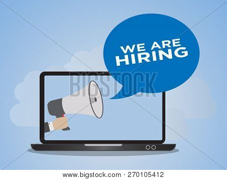 We Are Hiring Concept. Ready To Use Vector. Suitable For Background, Wallpaper, Landing Page, Web, B