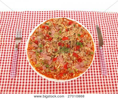 Pizza served in pizzeria