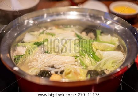 Suki Shabu In Vegetable Soup, A Japanese Nabemono Hotpot Dish Of Thinly Sliced Meat And Vegetables B