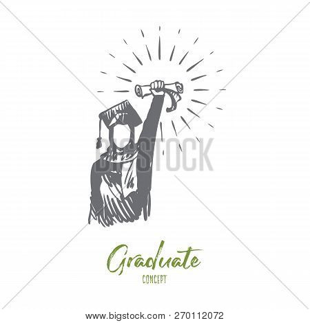 Diploma, Achievement, Success, Graduate, Islam Concept. Hand Drawn Muslim Woman In Graduate Dress Wi