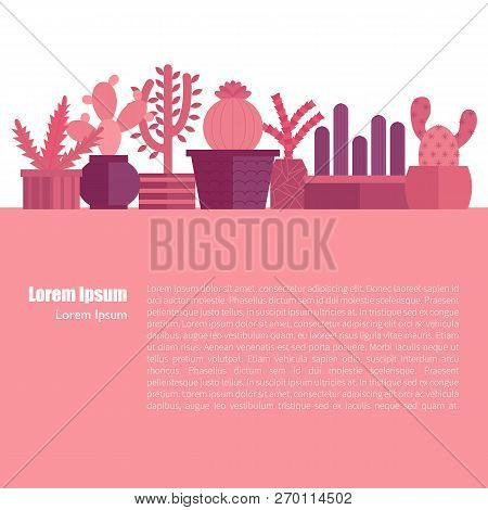 Vector Illustration With Cartoon Isolated Cactus Icon. House Plant In Flowerpot, Home Interior Backg