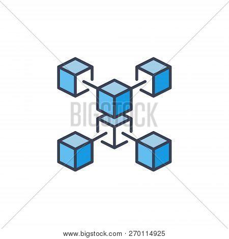 Blue Blockchain Crypto Icon. Vector Cryptocurrency Concept Symbol