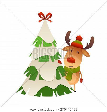 Cute Cartoon Reindeer Behind Christmas Tree Vector Isolated