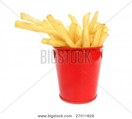French fries potatoes in red box with hearts