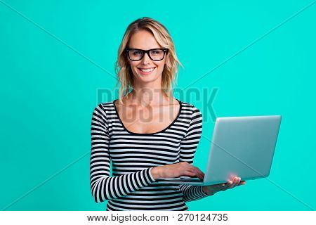 Photo Of Attractive Dreamy Carefree Careless Style Stylish Lady With Her Charming Smile She Stand Is