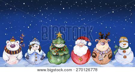 Seamless Pattern With Funny Christmas Characters (santa, Snow Maiden, Caribou, Polar Bear, Christmas