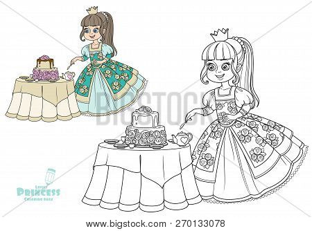 Beautiful Princess Near The Table With A Delicious Cake Color And Outlined Picture For Coloring Book