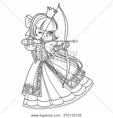 Beautiful Princess Archer Outlined Picture For Coloring Book On White Background