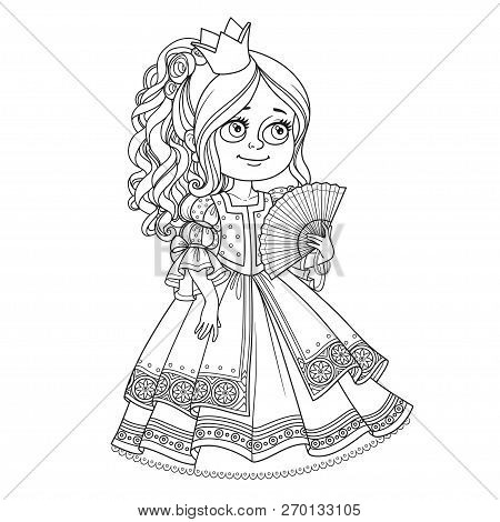 Beautiful Princess With A Fan In Hand Outline For Coloring Isolated On White Background