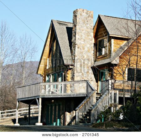 Modern Home With Rock Chimney