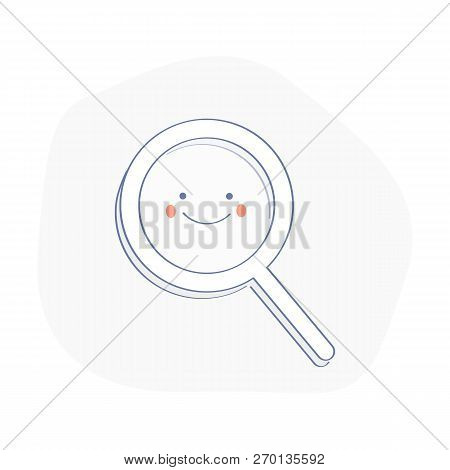 Happy Magnifying Glass, Cute Not Found Symbol, Successful Search, Zoom,  Results Found While Searchi