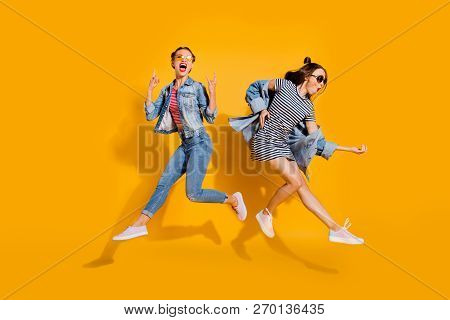 Full Legs Body Size Beautiful Gorgeous Adorable Two Lady Isolated On Yellow Background In Trendy Cas