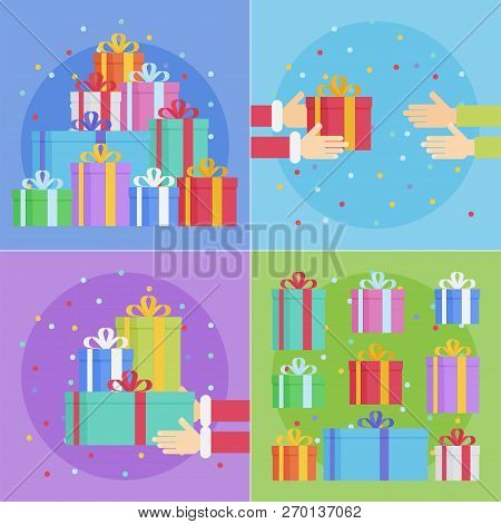 Flat Style Festive Holiday Present Boxes. Colorful Gift Boxes With Fashionable Ribbons And Bows.
