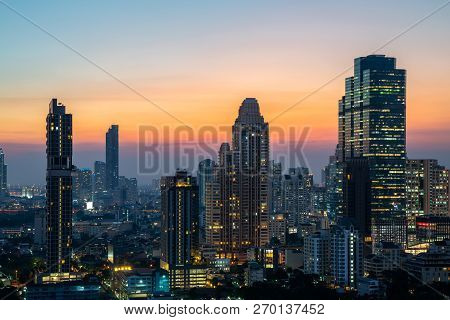 Night Of The Metropolitan Bangkok City Downtown Cityscape Urban Skyline Tower Thailand  - Cityscape