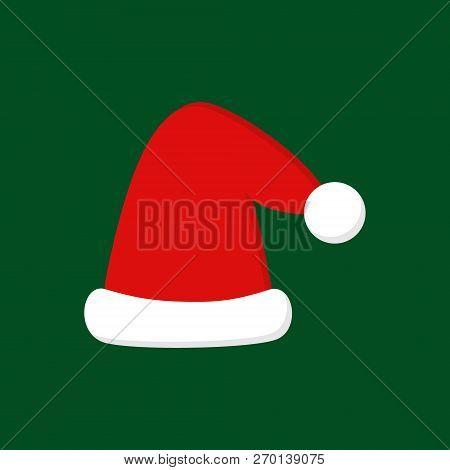 Christmas Party, Santa Hat Vector Illustration Icon. Festive, Seasonal, Holiday, Celebration Hat Wit