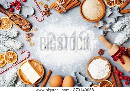 Bakery Background With Ingredients For Cooking Decorated With Fir Tree And New Year 2019. Flour, Bro