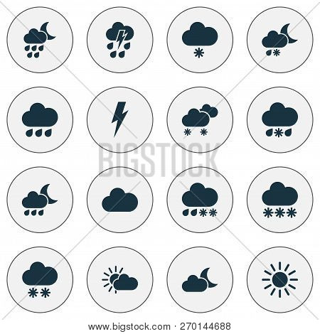 Climate Icons Set With Rain, Crescent, Sunshine And Other Wet Elements. Isolated Vector Illustration