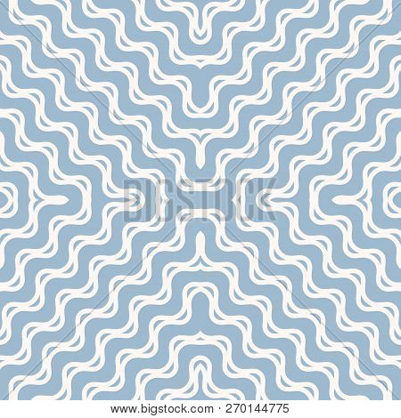 Vector Wavy Seamless Pattern. Abstract Nautical Texture With Diagonal Concentric Waves, Curved Lines