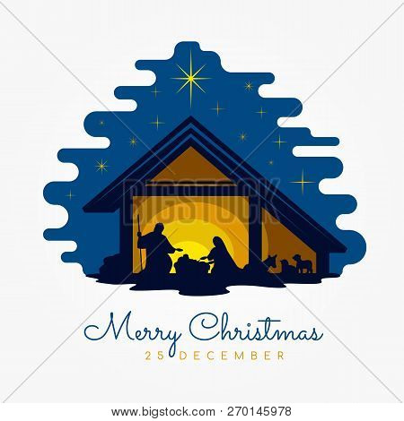 Merry Christmas Banner Sign With Nightly Christmas Scenery Mary And Joseph In A Manger With Baby Jes