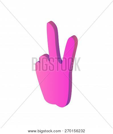 Peace Sign Hand Gesture Isolated Icon Vector. Social Network Designed Element For Chatting. Gesturin
