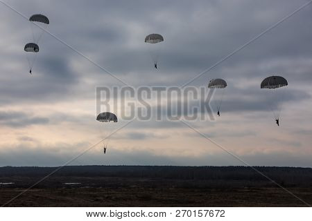 Zhytomyr Reg, Ukraine - Nov. 21, 2018: Combat Training At The Training Center Of The Airborne Troops