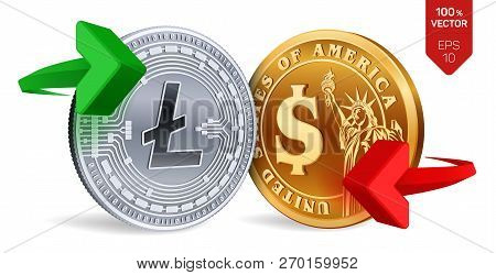 Litecoin To Dollar Currency Exchange. Litecoin. Dollar Coin. Cryptocurrency. Golden And Silver Coins