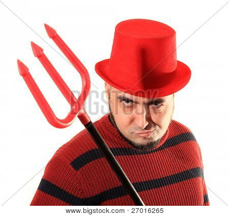 Devilish man with red top hat and trident