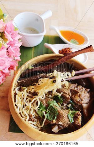 Duck Noodle With Vegetable And Soup Delicious