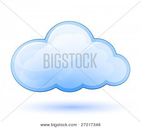 Cloud glossy icon. Vector illustration