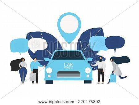 Group Of People Rent A Car In Carsharing Service. Car Sharing Service Advertising Web Page Template.
