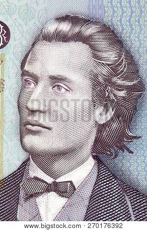 Mihai Eminescu Portrait From Romanian Money - Leu