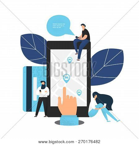 Carsharing Concept Of Various People Using Mobile Gadgets To Rent A Car Via Car Sharing Service. Han