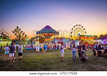 West Windsor, New Jersey - September 23 - Amusement Park Rides And Plenty Of People Attended The 18t