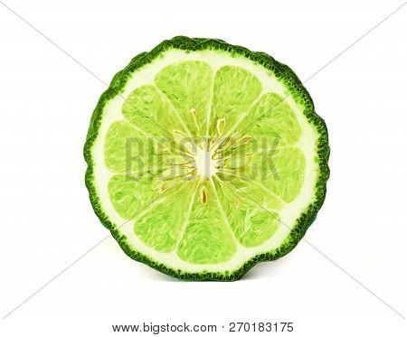 Close Up A Cut Half Of Bergamot Fruit And Leaf On White Background Which It Use For Famous Asian Her
