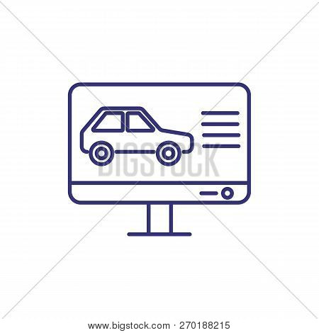 Online Car Online Line Icon. Vehicle On Computer Monitor. Car Service Concept. Can Be Used For Topic