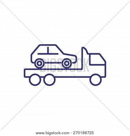 Tow Truck Line Icon. Vehicle, Wrecker, Emergency. Car Service Concept. Can Be Used For Topics Like B