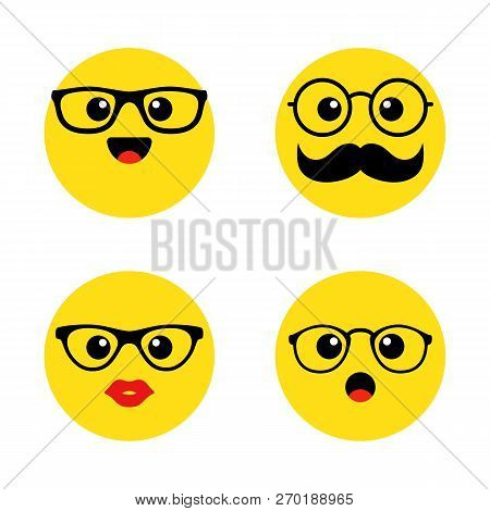 Set Of Nerd Emoticons With Glasses. Kawai Cute Faces. Funny Emoticons. Flat Icons. Vector Illustrati