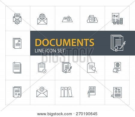 Documents Line Icon Set. Agreement, Certificate, Application. Paperwork Concept. Can Be Used For Top