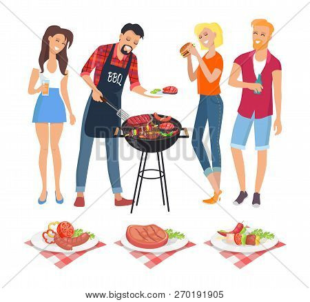 People On Bbq Party Isolated Icons Vector. Man Serving Food On Plate Skewer And Well Done Beefsteak.