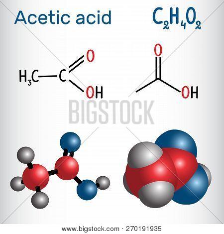 Acetic Acid (ethanoic) Molecule. Structural Chemical Formula And Molecule Model. Vector Illustration