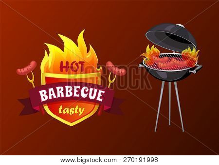 Hot Barbecue Party Sausages Isolated Icons Vector. Shield With Forks And Frankfurters. Frying Pan An