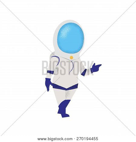 Confident Woman Walking In Space Suit. Personage, Pioneer, Explorer.can Be Used For Topics Like Univ